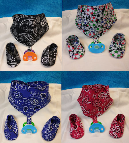 Bandanna Style baby bibs with matching booties